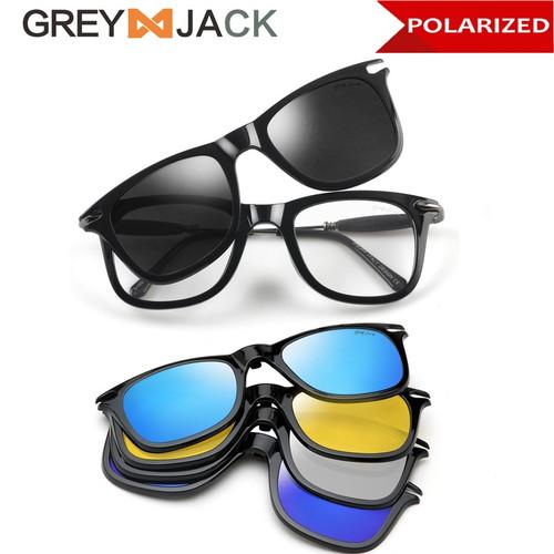 Foto Produk Grey Jack/Kacamata Clip on 5in1 lensa polarized TR90 unisex 1201 - BLACK GLOSSY dari Grey Jack