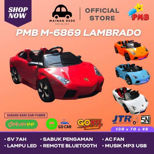 Foto Produk Mainan Anak Mobil Aki PMB M6869 Lamborghini Lambardo - Merah dari Mainan Anak Dede