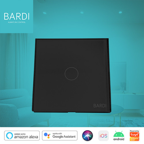 Foto Produk Bardi Smart WiFi Touch Wallswitch - EU 1 Gang (Black) dari Bardi Official Store