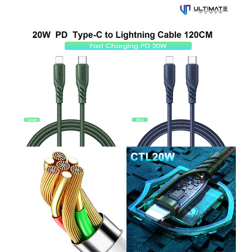 Foto Produk Ultimate PD Fast Charging 20W Type-C to Lightning Cable 120CM CTL20W - Hijau dari Ultimate Power Official