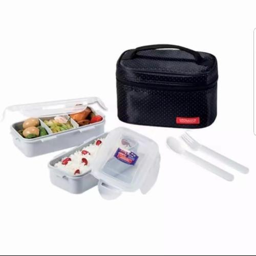 Foto Produk Promo Lock&Lock Lock n Lock Lunch Box Set 3 in 1 HPL764 Bag - Hitam 2 Pcs Set dari Baby Ananta