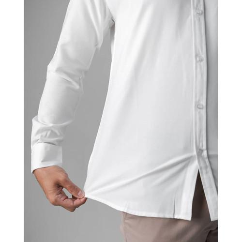Foto Produk kemeja pria lengan panjang Putih slim fit Bahan Premium - Putih, M dari SNclthesid