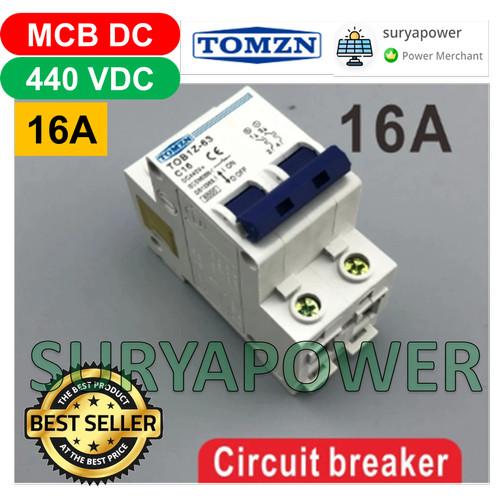 Foto Produk MCB DC 440V 2P - 6A 10A 16A 20A 25A 32A 40A 50A 63A - SURYAPOWER - 16A dari suryapower
