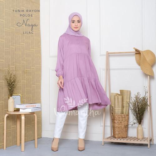 Foto Produk Tunik Muslim Polos Naya - Lilac dari Beli Mukena