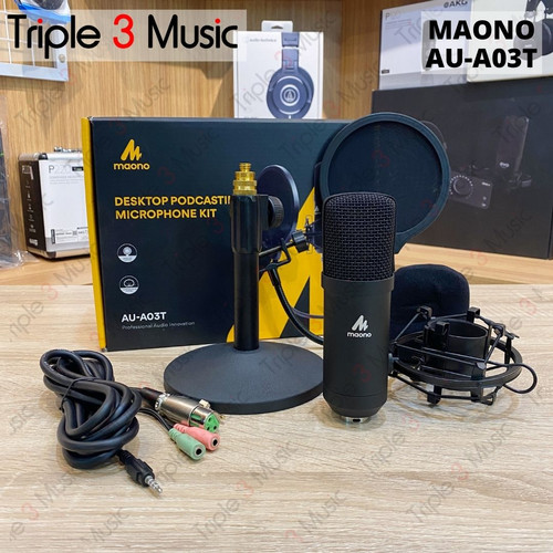 Foto Produk MAONO AU-A03T Podcast Microphone Kit 3.5mm Condenser Studio dari triple3music
