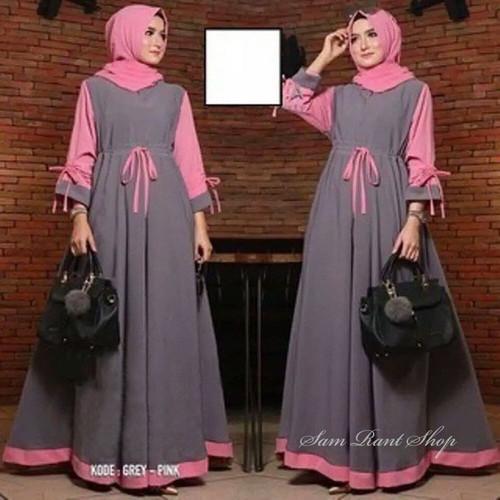 Foto Produk Baju gamis/Baju Muslim Wanita Renata Busana Muslim Fashion Muslim - grey dari damris shop