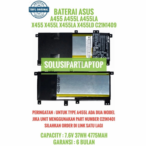 Foto Produk ORIGINAL BATERAI ASUS A455 A455L A455LA C21N1409 dari SolusiPartLaptop