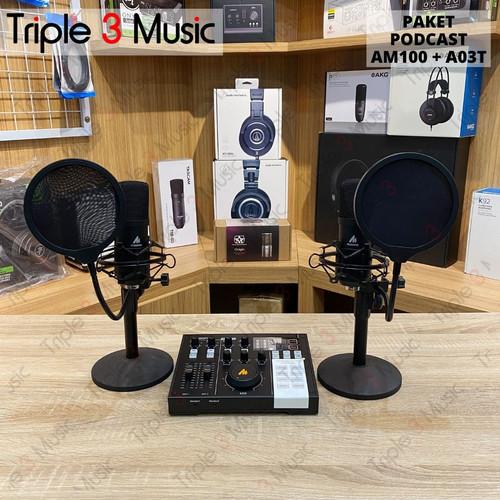 Foto Produk MAONO AM100 duet bundle A03T Paket podcast 2 orang dari triple3music