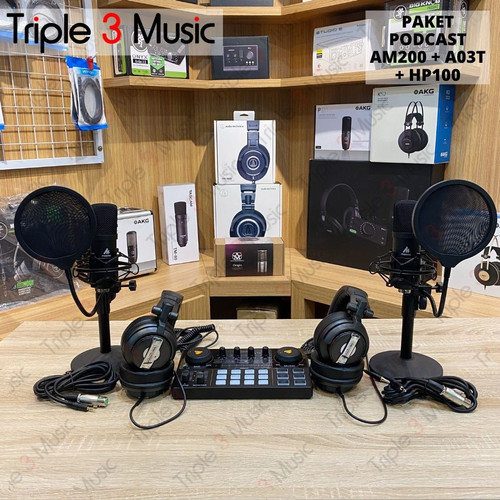 Foto Produk MAONO AM200 Paket Podcast 2 orang with Bundle A03T + headphone - RT HP100 dari triple3music