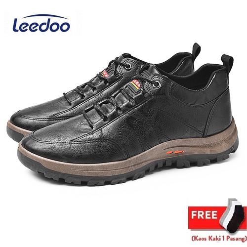 Foto Produk Leedoo Sepatu kulit Casual Pria Sneakers Outdoor High Quality MC405 - Cokelat, 40 dari Leedoo