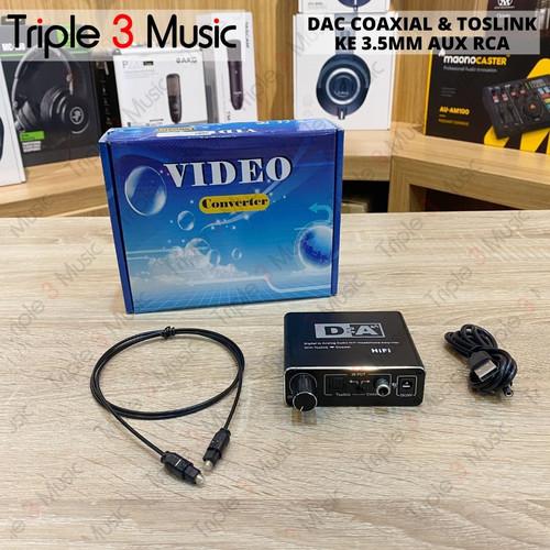 Foto Produk DFA Konverter DAC Coaxial OPTIC & Toslink ke 3.5mm AUX RCA dari triple3music