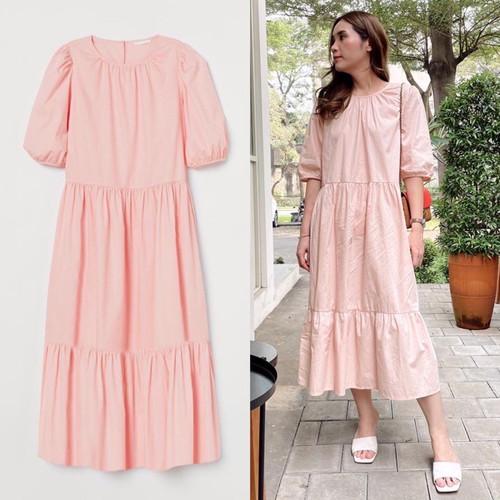 Foto Produk H&M Puffy Sleve Maxi Dress - Pink, L dari Bepopup