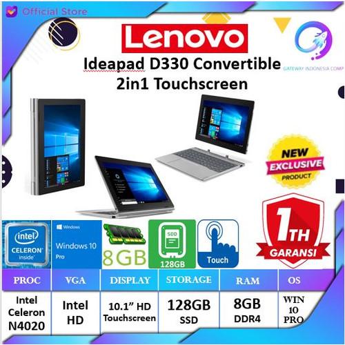 Foto Produk Lenovo Ideapad D330 N4000 4GB 128GB 10.1 FHD WIN10 2IN1 Touchscreen - +Pake Antigores dari Gateway Indonesia Comp