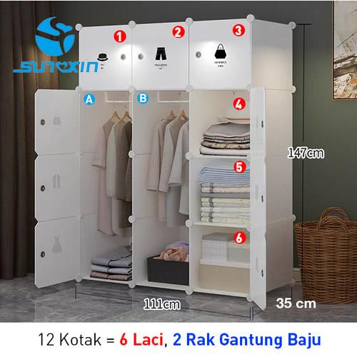 Foto Produk Lemari Penyimpanan Baju Portabel Bongkar Pasang 8 atau 12 Pintu - 12 kotak dari SUNXIN