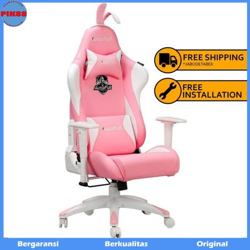 Foto Produk AutoFull Pink Gaming Chair with Adjustable Reclining Back AF055PUW dari PIK88Elektronik