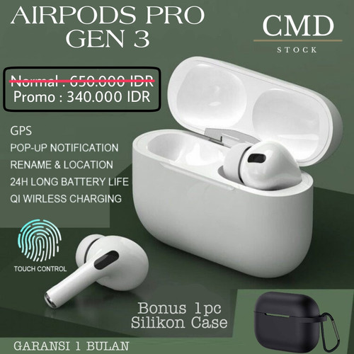 Foto Produk Airpods Pro Wireless Charging Case Airpod Pro Gen 3 Super Copy 1 : 1 - + Silikon Case dari CMD Stock