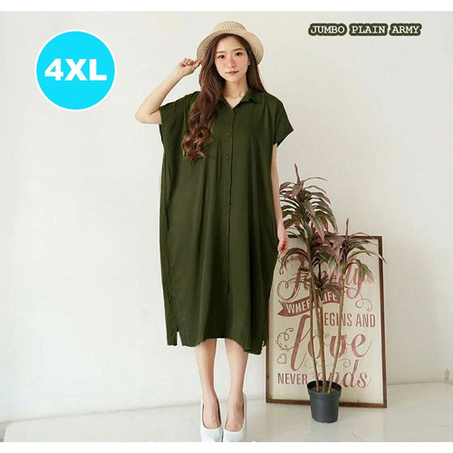 Foto Produk Dress Jumbo Big Size Dress Jumbo Wanita Home Dress Jumbo Rayon PLAIN - Army dari Baju Ukuran Besar