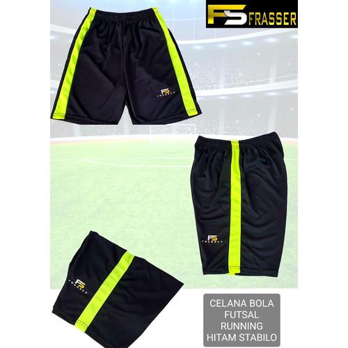 Foto Produk Celana Bola Futsal Jogging Running Gym Frasser Hitam Lis Stabilo - L dari Pusat Grosir OLAHRAGA