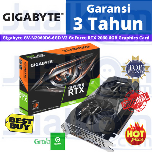 Foto Produk Gigabyte GeForce RTX 2060 6 GB Gaming 6GB DDR6 RTX2060 192bit Dual Fan dari Karya Citra Computers