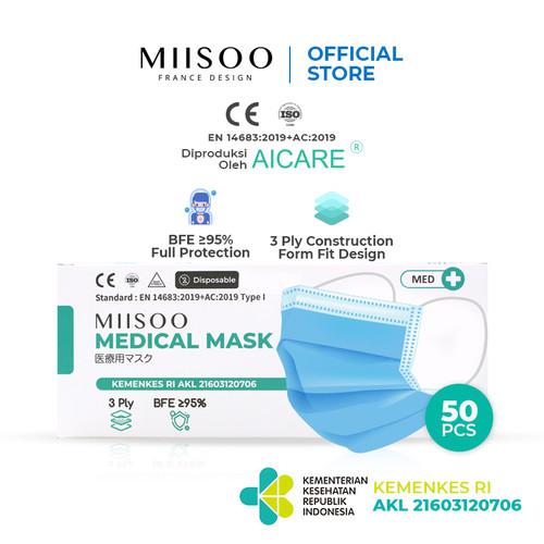 Foto Produk MIISOO Medical Masker Medis 3ply 50s Masker Bedah izin Edar/Kemenkes - Medis 50pcs dari Miisoo Official Shop