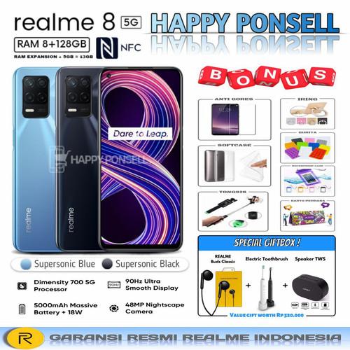 Foto Produk REALME 8 5G RAM 8/128 GB GARANSI RESMI REALME INDONESIA - biru no bonus dari happy ponsell