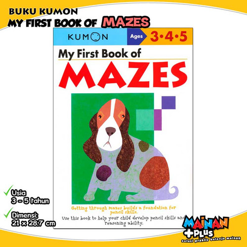 Foto Produk BUKU ANAK KUMON MY FIRST BOOK OF MAZES 3 4 5 dari MainanPlus
