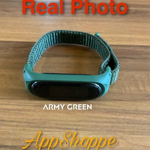 Foto Produk Xiaomi MiBand 6 5 4 3 STRAP Nylon Woven with Silicone Frame ADJUSTABLE - ARMY GREEN dari AppShoppe