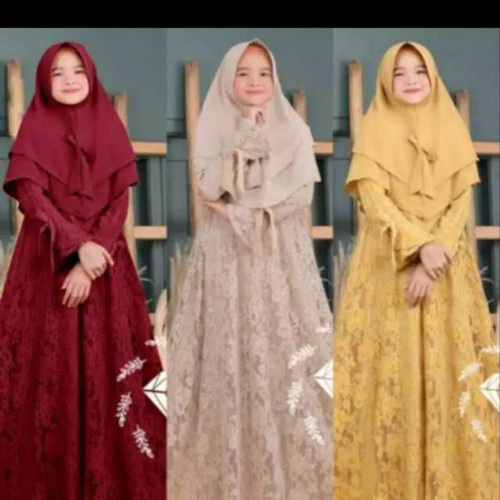 Foto Produk Dirra Brukat Kids Gamis Anak Terbaru Baju Muslim Anak Perempuan 7-10th - MUSTARD dari Hadrian Collection