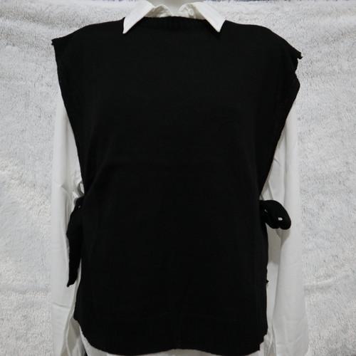 Foto Produk VEST ROMPI RAJUT TALI/VEST KNIT OUTER/ROMPI POLOS RAJUT WANITA - Hitam dari Bryan Fashion Store