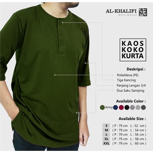 Foto Produk Kurta Pakistan bahan Kaos Lengan 3/4 Baju Koko Dewasa - Army, L dari Al Khalifi Muslimwear