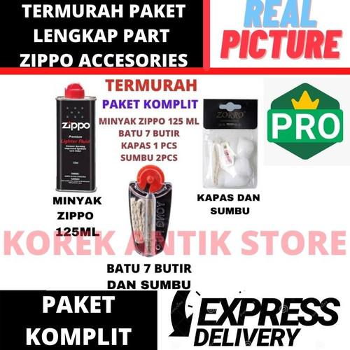 Foto Produk Paket Komplit Minyak Zippo + Batu Zippo + Kapas + Sumbu Zippo Original dari Korek Antik Store