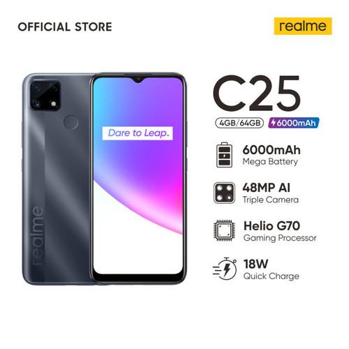 Foto Produk Realme C25 HelioG70, 6000mAh Mega Battery, 48MP AI Triple Camera - Water Grey, 4-64GB dari Evogad Official