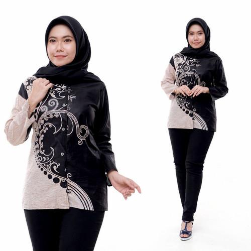 Foto Produk kemeja batik wanita lengan panjang blouse batik formal batik tulis - A8, M dari Adzkia_BatikArt