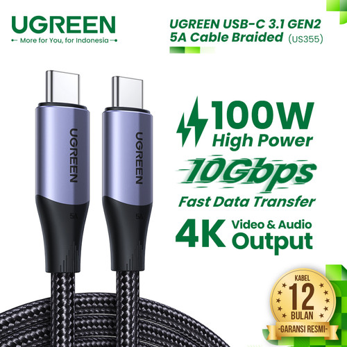 Foto Produk UGREEN USB-C 3.1 Gen 2 5A Cable Braided - US355 dari UGREEN Authorized Store