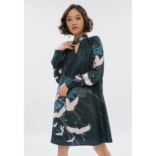 Foto Produk CRANE PAINTING DRESS CRANE BORDER - S dari minimal