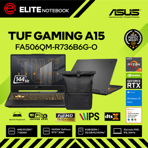 Foto Produk ASUS TUF GAMING A15 FA506QM - R7-5800H 8GB 512GB RTX3060 144Hz W10 OHS dari Elite Notebook