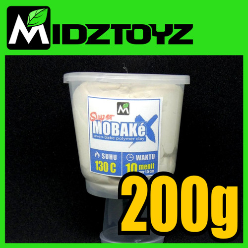 Foto Produk Super Mobake X - oven bake Polymer Clay - SMeX PUTIH 200g dari Midztoyz