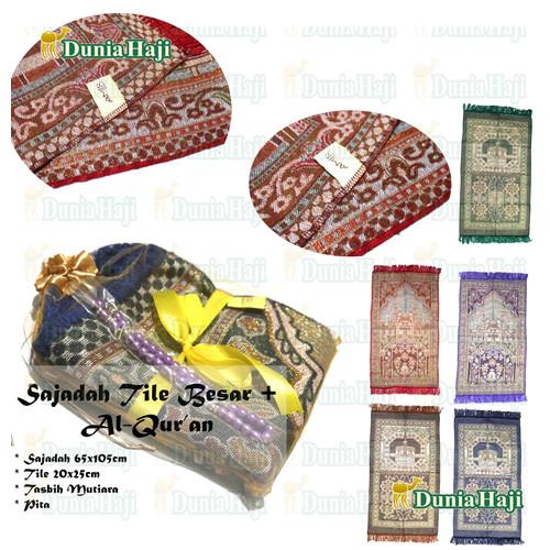 Foto Produk Paket Souvenir Sajadah Besar Turki Parcel ( PPT ) +Tile+Tasbih Mutiara dari DuniaHaji
