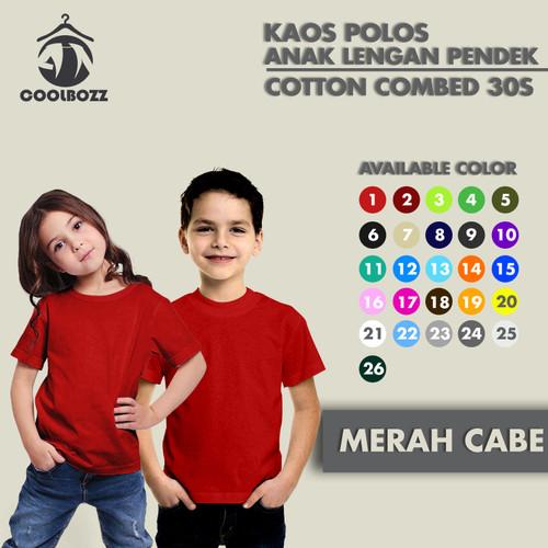 Foto Produk KAOS POLOS ANAK LENGAN PENDEK RESELLER COTTON COMBED 30S PART 1 - XS, MERAH dari COOLBOZZ