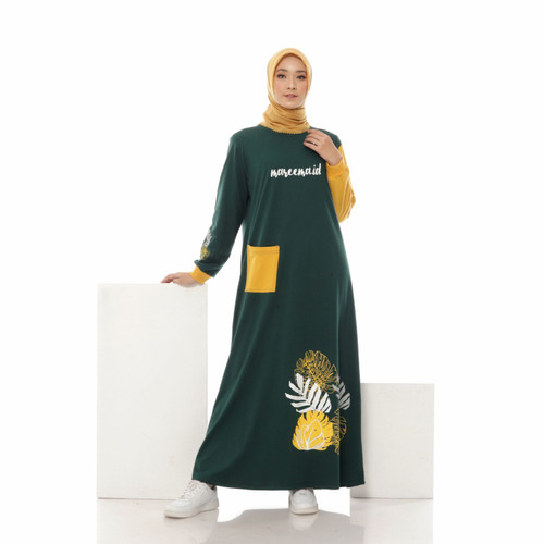 Foto Produk Dress Wanita Terbaru Muslim Kekinian - Gamis Kaos Home Dress - Halima, M dari mareemaid