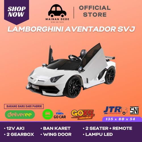 Foto Produk Mainan Mobil Aki Anak Lamborghini Aventador SVJ BanKaret Unikid UK 816 - Putih dari Mainan Anak Dede