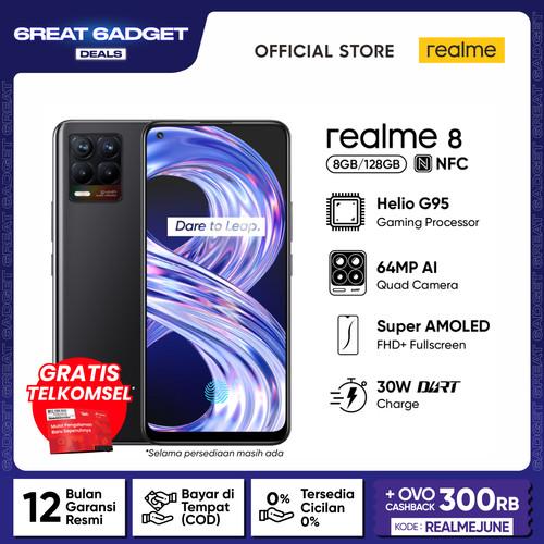 Foto Produk HP realme 8 8/128GB [Super AMOLED, 64MP AI Quad Camera, Helio G95] - Cyber Black dari realme Official Store