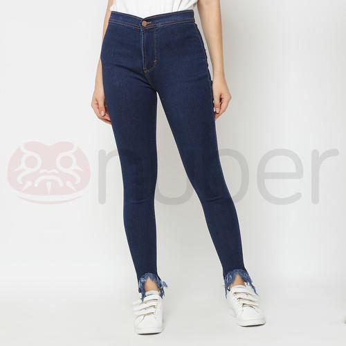 Foto Produk Celana Panjang Jeans Highwaist Rumbai Wanita Tri Navy stretch-Gazania - 27 dari nubersupply