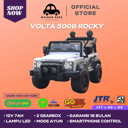 Foto Produk Mainan Mobil Aki SHP Volta Jeep Rocky 5008 GARANSI 18 BULAN - Putih Ban Karet dari Mainan Anak Dede