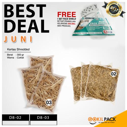 Foto Produk Shredded Paper - Kertas Potong - Kertas Cacah Serut Coklat - D8 02 - D8-03 Besar dari GokilPack