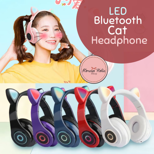 Foto Produk Headphone / headset Kucing Cat Bluetooth Lampu LED Cute dan lucu - Red dari Koreanholicshop