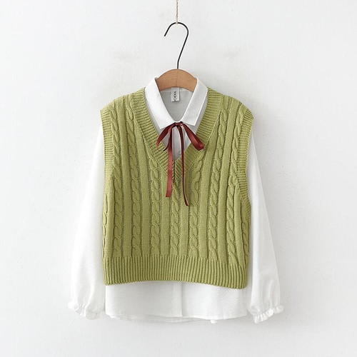 Foto Produk Vest cable rajut - Rompi Wanita Vest Cabel Outer Rajut Korean Style - Mint, L dari ALLASKY