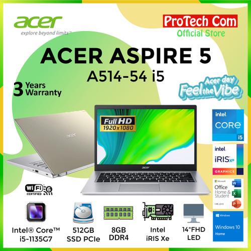"Foto Produk LAPTOP ACER ASPIRE 5 A514-54 i5-1135G7 8GB 512GB INTEL iRIS Xe 14"" W10 dari Protech Computer"