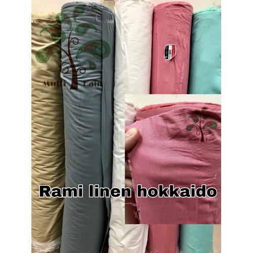 Foto Produk bahan kain rami linen hokaido polos meteran / grosir quality premium - 11 hitam dari multi kain