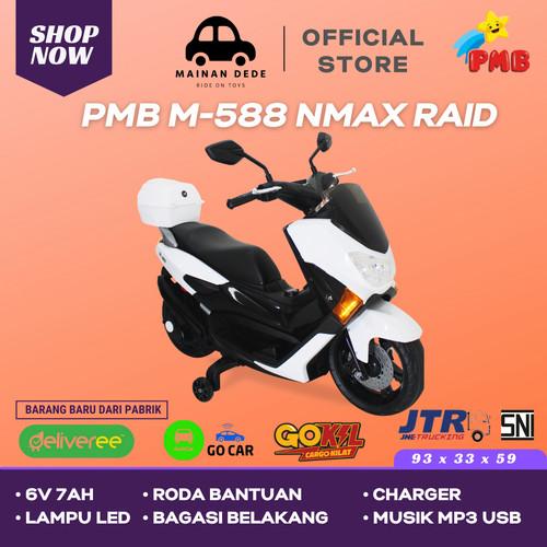 Foto Produk KHUSUS GOJEK Mainan Motor Aki NMAX RAID PMB 588 M-588 M588 - Putih dari Mainan Anak Dede